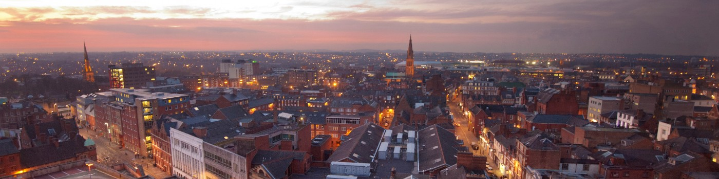 Leicester Skyline at sunset